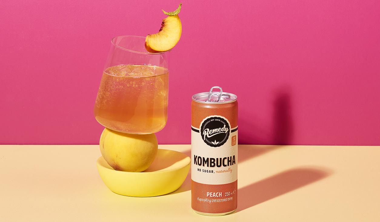 Remedy Kombucha Peach can