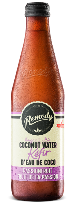 Remedy Coconut Water Kefir - Passionfruit 330ml Bottles - French Canadian