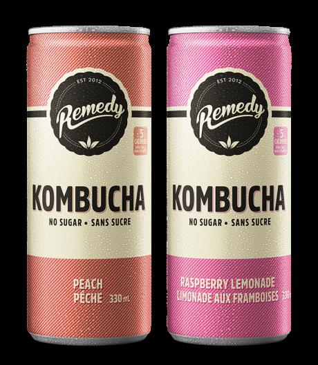 Remedy Kombucha Twin Pack Raspberry Lemonade and Peach Cans 250ml