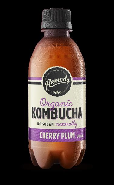 8 x Remedy Kombucha - Cherry Plum - 300ml Bottles