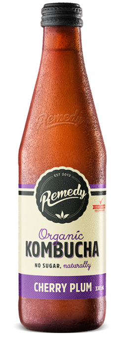 Remedy Kombucha Cherry Plum 330ml Glass Bottles