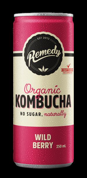 24 x Remedy Kombucha - Wild Berry 250ml Cans