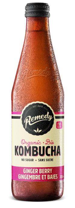 Remedy Kombucha Ginger Berry 330ml French Canadian Glass Bottles