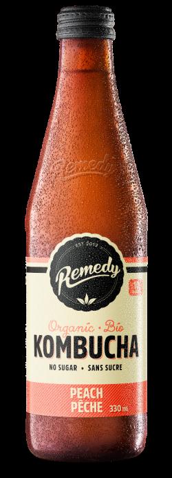 Remedy Kombucha 330ml Peach Glass Bottle French Canadian