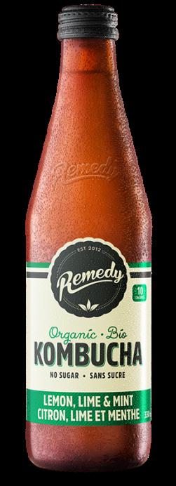 Remedy Kombucha Lemon Lime & Mint 330ml Glass Bottle French Canadian