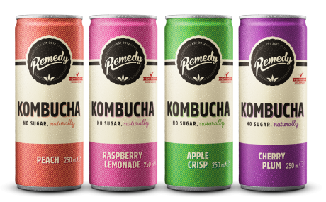 24 X Remedy Kombucha – Fruity Faves Mixed Case - 250ml Cans