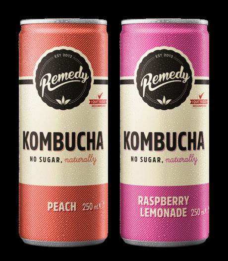 24 X Remedy Kombucha Twin Pack - Raspberry Lemonade & Peach - 250ml Cans