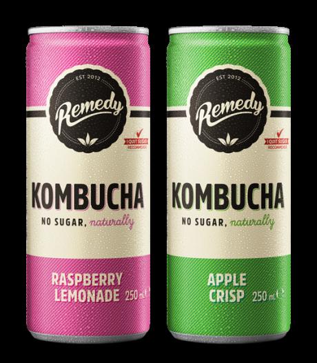 24 x Remedy Kombucha Twin Pack - Raspberry Lemonade & Apple Crisp - 250ml Cans