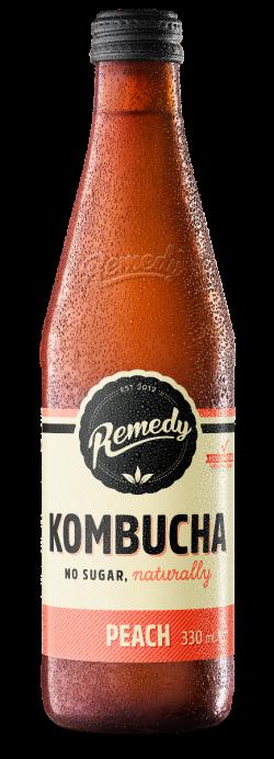 Remedy Kombucha 330ml Peach Glass Bottle