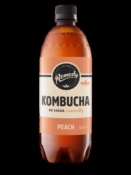 Remedy Kombucha Peach Flavour 700ml bottle