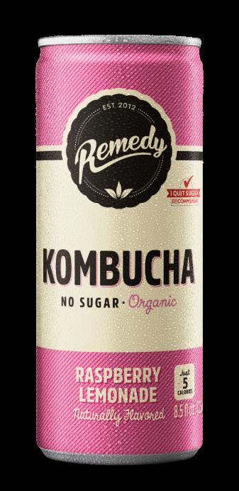 Remedy Kombucha Raspberry Lemonade no sugar drink