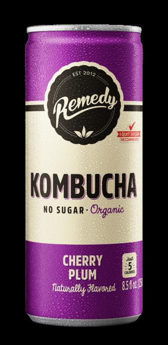 24 x Remedy Kombucha - Cherry Plum - 8.5 Fl Oz Cans