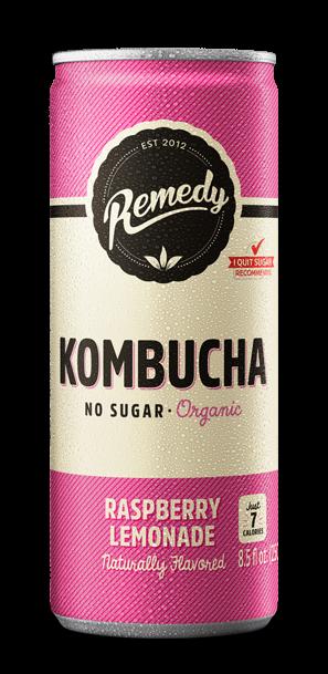 24 x Remedy Kombucha - Raspberry Lemonade - 8.5oz Cans