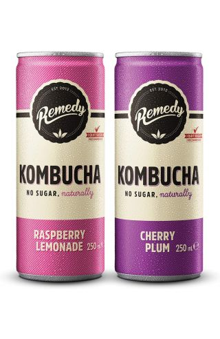 24 x Remedy Kombucha - Twin Pack - Raspberry Lemonade & Cherry Plum - 250ml Cans