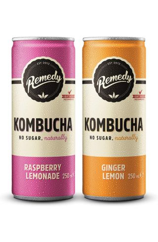 24 x Remedy Kombucha - Twin Pack - Raspberry Lemonade & Ginger Lemon - 250ml Cans