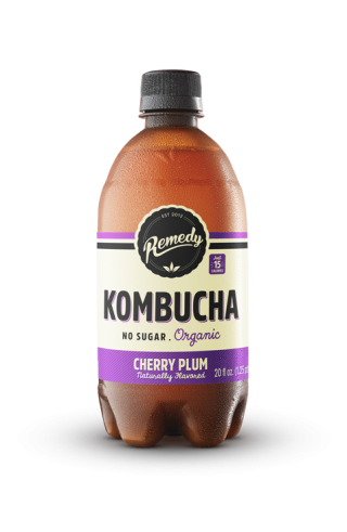 6 X Remedy Kombucha - Cherry Plum - 20 Fl Oz Bottles
