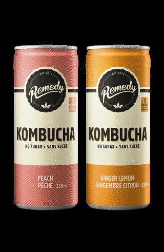 Remedy kombucha twin pack Peach and Ginger Lemon