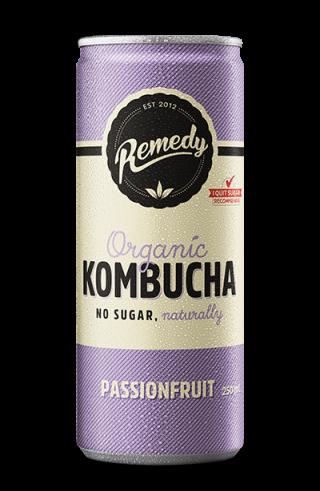 24 x Remedy Kombucha - Passionfruit - 250ml Cans