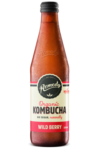 12 x Remedy Kombucha - Wild Berry - 330ml Bottles