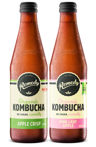 12 x Remedy Kombucha - Pink Lady & Apple Crisp Mixed Case - 330ml Bottles