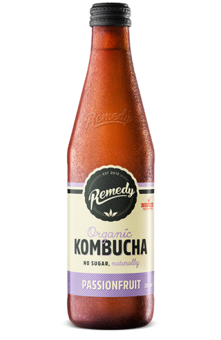 Remedy Kombucha Passionfruit 330ml Glass Bottle