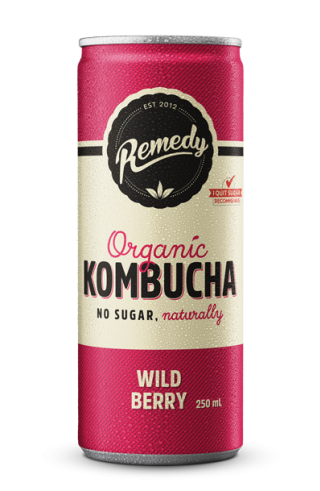 24 x Remedy Kombucha - Wild Berry 250ml Cans