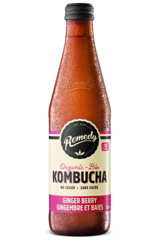 Remedy Kombucha Ginger Berry 330ml French Canadian Glass Bottles