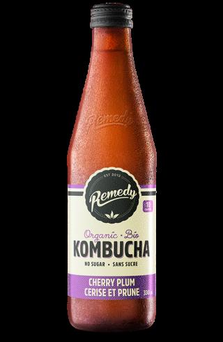 Remedy Kombucha Cherry Plum 330ml Glass Bottles French Canadian