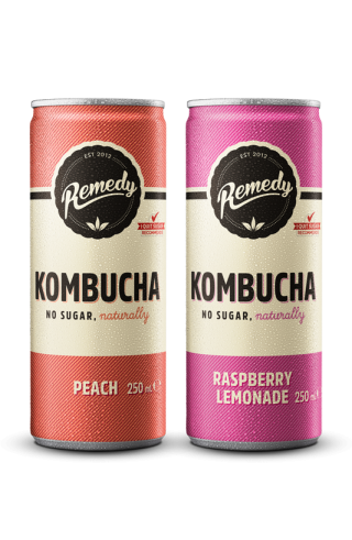 24 X Remedy Kombucha Twin Pack - Raspberry Lemonade & Peach - 250ml Cans