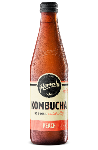 Remedy Kombucha 330ml Peach Glass Bottle