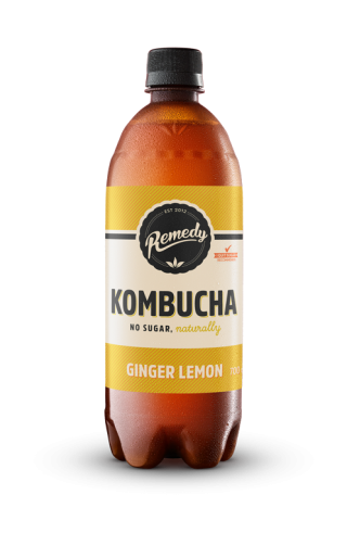 Remedy Kombucha Ginger Lemon 700ml bottle