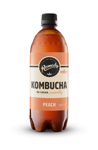 Remedy Kombucha Peach Flavour 700ml bottle