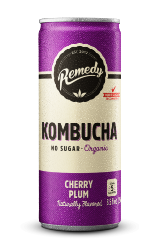24 x Remedy Kombucha - Cherry Plum - 8.5 Fl Oz Cans