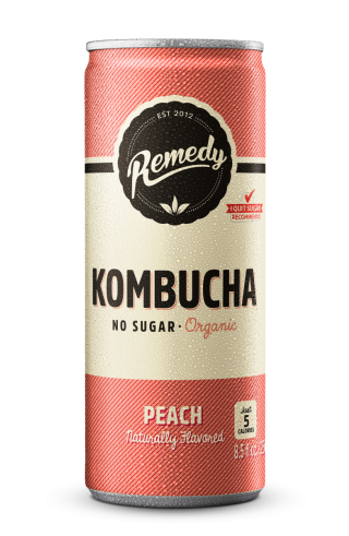 24 x Remedy Kombucha - Peach - 8.5 Fl Oz Cans