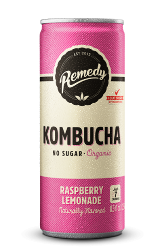24 x Remedy Kombucha - Raspberry Lemonade - 8.5oz Cans