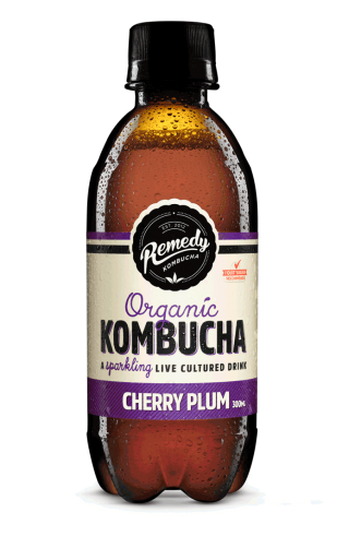 8 x Remedy Kombucha - Cherry Plum - 300ml Bottles