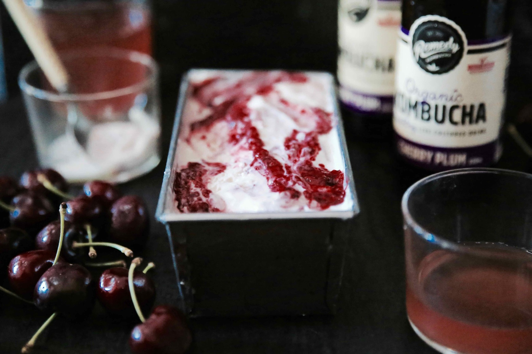 Roast Cherry Ripple Semifreddo served with Remedy Kombucha Cherry Plum