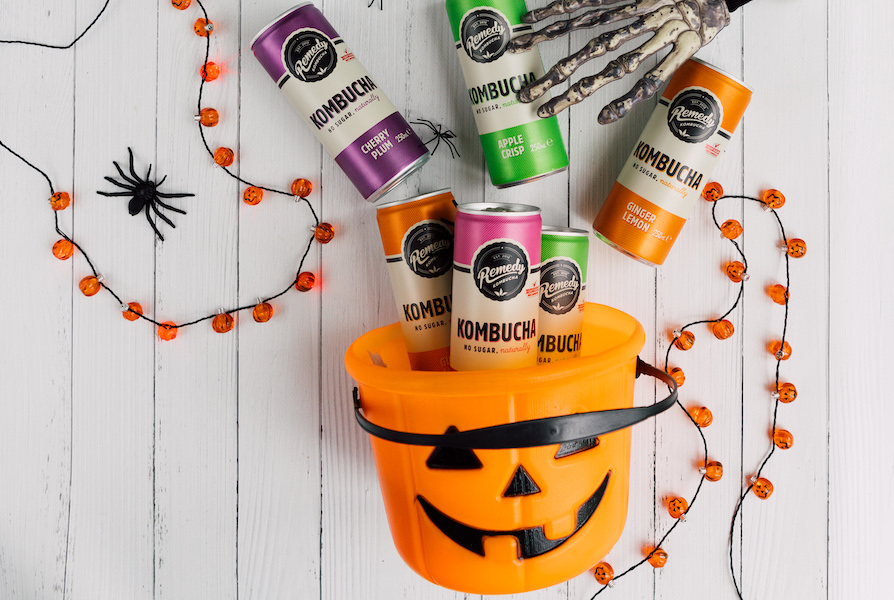 Remedy Kombucha mini cans Halloween bucket