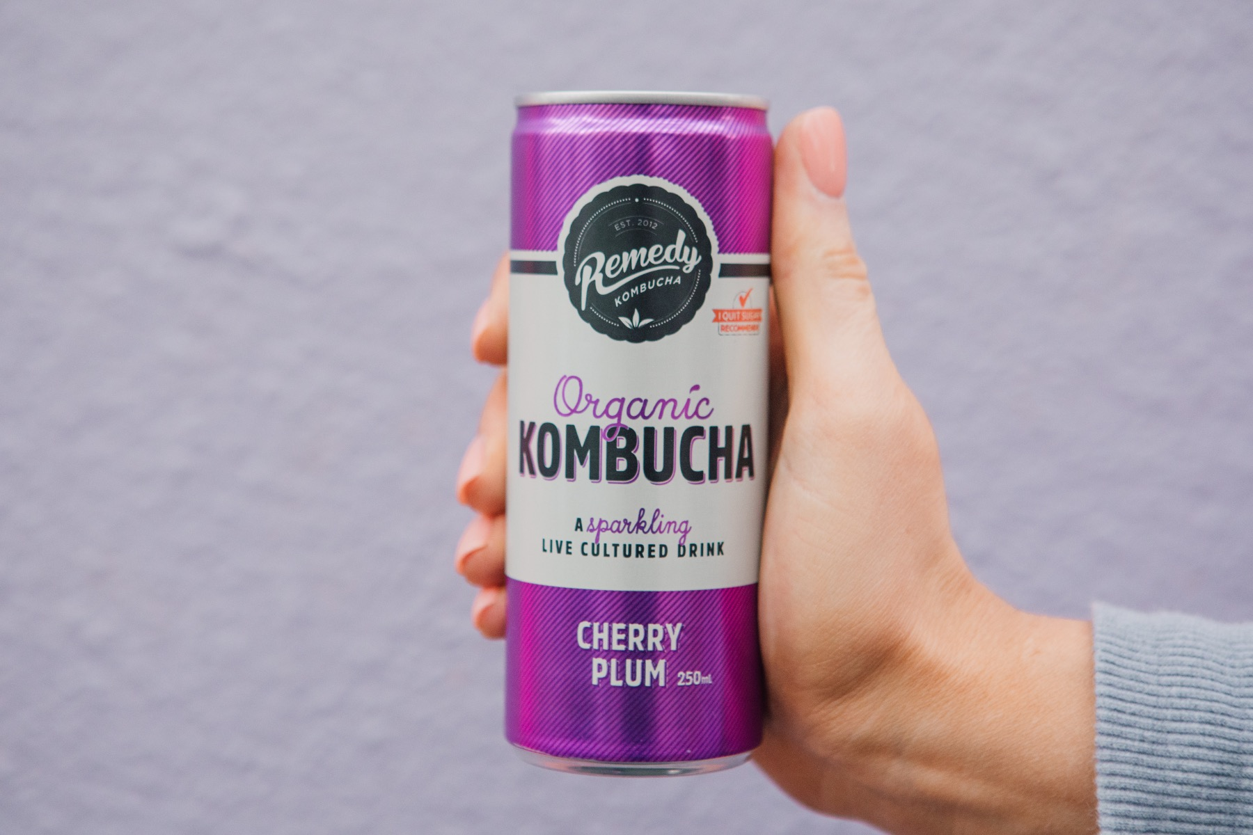 Hand holding can of Cherry Plum Remedy Kombucha