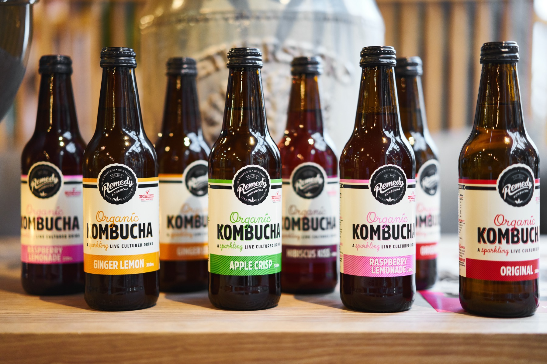 Line up of all Remedy Kombucha flavours in 330ml bottles