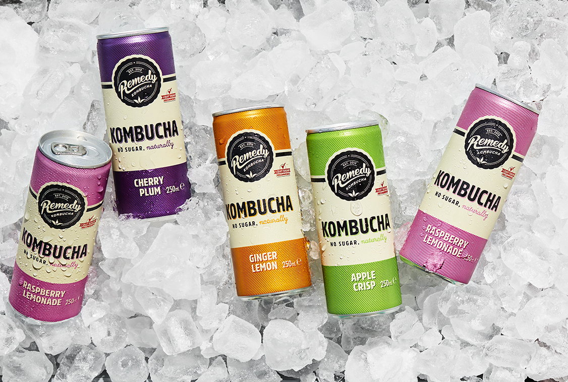 Remedy Kombucha cans on ice
