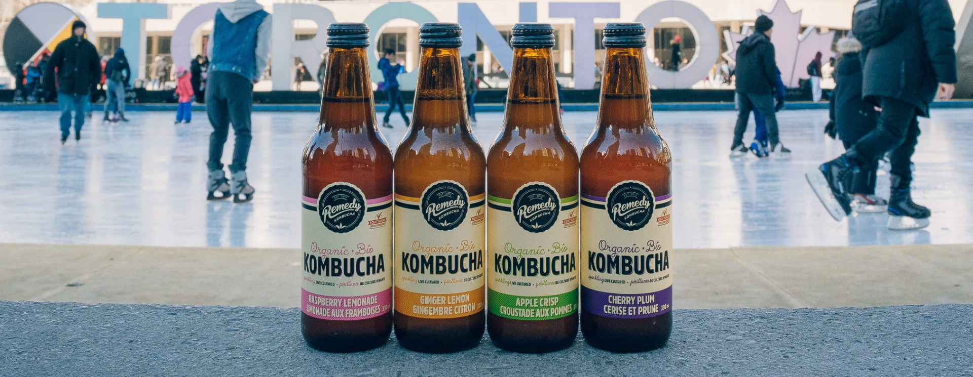 Line up of Remedy Kombucha in Canada