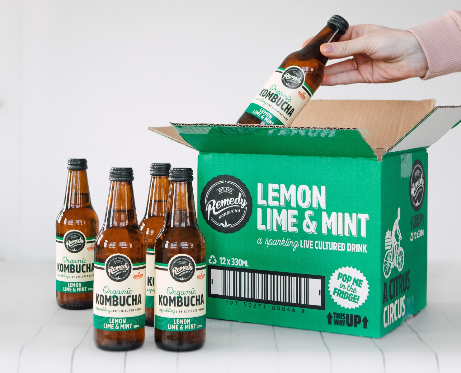 Green box of Remedy Kombucha Lemon Lime and Mint