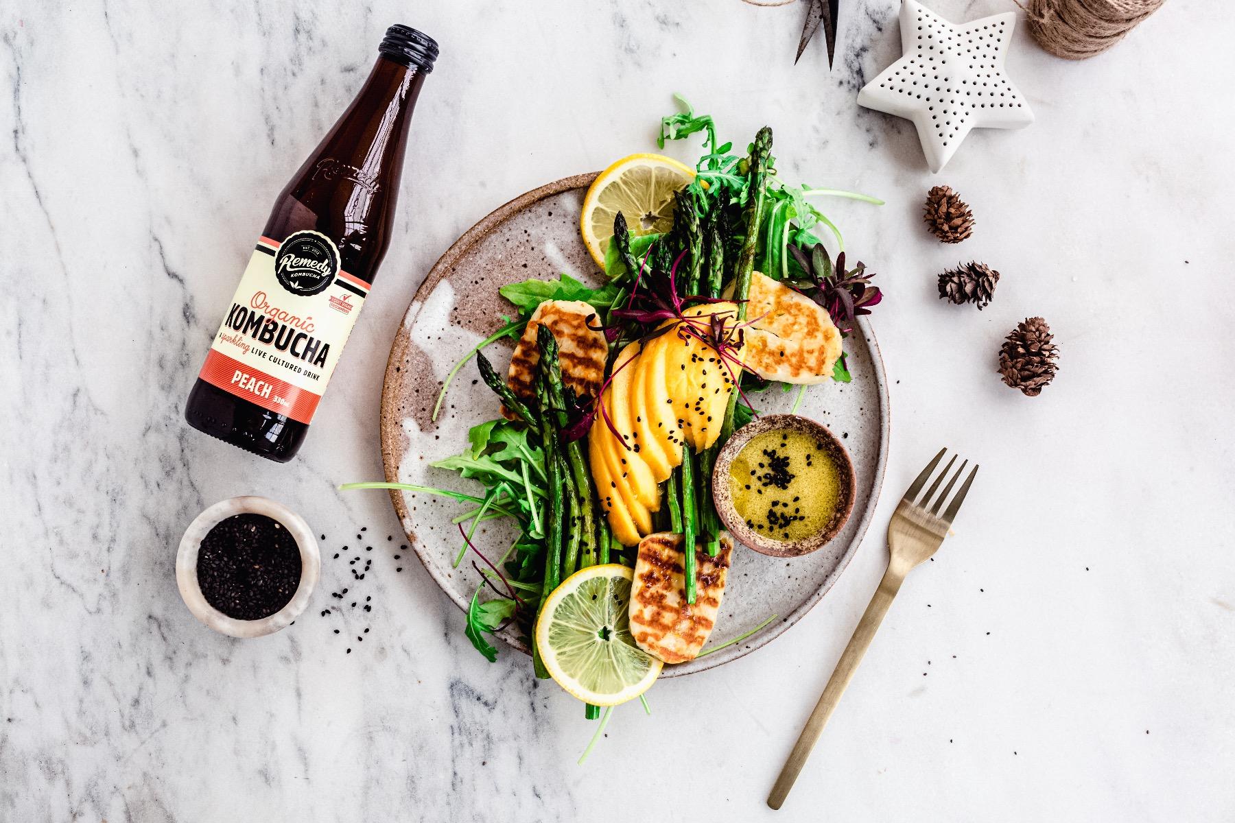 Mango Haloumi Asparagus Salad