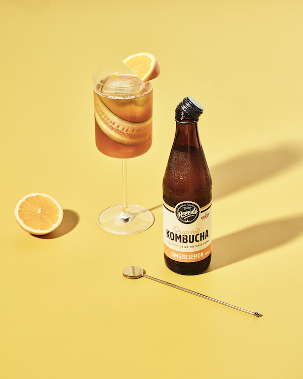 Remedy Kombucha Ginger Lemon Pimms Cocktail